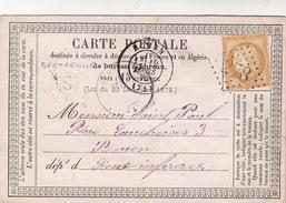 CARTE PRECURSEUR.   18 MARS 75 .  SEINE INFERIEURE  ROUEN.  BOITE RURALE :   S   BERTREVILLE    /  55 - Marcophilie (Lettres)