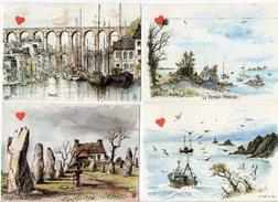 39253-ZE-PEINTURE--BRETAGNE---Lot De 4 CPM -aquarelle Originale De Robert LEPINE - Schilderijen
