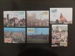 DDR Germany, 1988, 6 Maximum Cards MC MK, District Capitals, DDR Kreisstädte, Sonderstempel