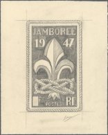 """1947, France. Artist Pencil Drawing For The Issue """"6th World Boy Scout Jamboree"""". Netto Size 110x177 Mm. Signed By... - Scouting"""
