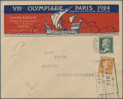 """1924, VIII Olympic Games Paris, Illustrated Coloured Envelope """"VIIIe OLYMPIADE PARIS 1924 COMITE OLYMPIQUE... - Olympic Games"""