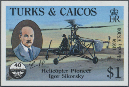 1985, Turks And Caicos Islands. Imperforate Proof In Issued Colors For The $1 Value Of The Civil Aviation...