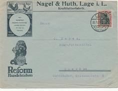 LAGE - 1921 , Nagel & Huth  Kraftfutterfabkrik / Hundekuchen -  Brief Nach München - Briefe U. Dokumente
