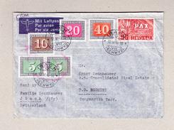 Schweiz Flugbrief IBACH SZ 12.6.1945 Nach Tanganyka Mit 5 Verschiedene PAX Werte Zusätzlich Leichter OAT Stempel - Schweiz