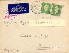 PAIRE MARIANNE DE DULAC 10f VERT CLAIR YT 698 Sur LETTRE POUR ARGENTINE TàD BLOIS-QUAI SAUSSAYE LOIR-ET-CHER Du 17-12-45 - Marcophilie (Lettres)
