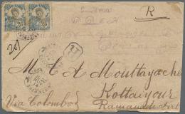 "1914, 2x 25 C Blue/black With Octagonal Canc. ""SAIGON .. 20 NOV 14"" On Registered Envelope (minimal Shortage On..."