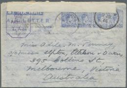 1945 Second Aerogramme 40c. Blue, Used From Nanu Oya (7 JU 45) To Melbourne, Australia With (Ceylon) Crown Censor... - Sri Lanka (Ceylon) (1948-...)