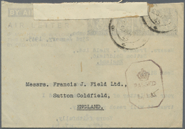 1945 (23.1.), AIR LETTER KGVI 10c. Four Impressions In Pale Blue On White Paper In Type I, Commercially Used From... - Sri Lanka (Ceylon) (1948-...)