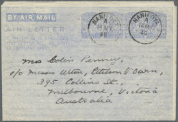 1945 (16.5.), AIR LETTER KGVI 10c. Four Impressions In Ultramarine On White Paper Commercially Used From Nanu Oya... - Sri Lanka (Ceylon) (1948-...)