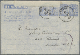 1945 (16.5.), AIR LETTER KGVI 10c. Four Impressions In Ultramarine On White Paper Commercially Used From Hatton To... - Sri Lanka (Ceylon) (1948-...)