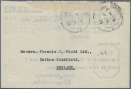 1945 (17.1.), AIR LETTER KGVI 10c. Four Impressions In Pale Blue On White Paper In Type I, Commercially Used From... - Sri Lanka (Ceylon) (1948-...)