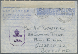 1945 (2.3.), AIR LETTER KGVI 10c. Four Impressions In Ultramarine On White Paper Commercially Used From Colombo To... - Sri Lanka (Ceylon) (1948-...)