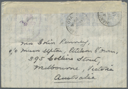 1945 (19.2.), AIR LETTER KGVI 10c. Four Impressions In Pale Greyish Blue On Cream Paper In Type II Commercially... - Sri Lanka (Ceylon) (1948-...)