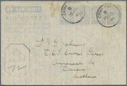 1945 (15.1.), AIR LETTER KGVI 10c. Four Impressions In Pale Greyish Blue On Cream Paper In Unlisted Type IV... - Sri Lanka (Ceylon) (1948-...)