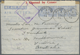 1944, Two AIR LETTER's KGVI 10c. Four Impressions In Different Shades Of Blue On Cream Paper In Type III Both... - Sri Lanka (Ceylon) (1948-...)