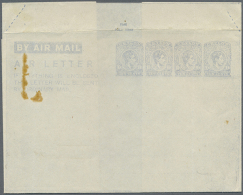 1944, AIR LETTER KGVI 10c. Four Impressions In Pale Greyish Blue On Cream Paper In Type Ia, Unused With Small... - Sri Lanka (Ceylon) (1948-...)