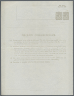 1943 Aerogramme Etc.: First Airgraph Form For Service Personnel, With Two Imprints KGVI. 10c Grey, Unused, With... - Sri Lanka (Ceylon) (1948-...)