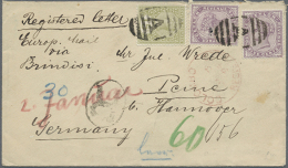 1894, Registered Cover Bearing QV 5c. Purple (two Singles) And 15c. Sage-green Used With Barred Cancel 'A' And Red... - Sri Lanka (Ceylon) (1948-...)
