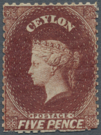 1862, 5d Lake-brown, Perf. 13, WITHOUT WATERMARK, Mint With Lightly Hinged Original Gum. A Few Perforations Have... - Sri Lanka (Ceylon) (1948-...)