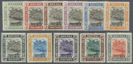 1907/1910, 'Huts And Canoe' Definitives Complete Set Of 11 With SPECIMEN Opt., Mint Lightly Hinged, SG. £ 300... - Brunei (1984-...)