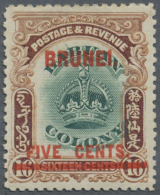 """1906, 5c. On 16c. Green And Brown Showing Variety """"line Through B"""", Bright Colours, Well Perforated, Natural Gum... - Brunei (1984-...)"""