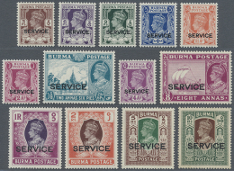 1939 Officials Complete Set Of 13, Mint Never Hinged, The 10r. With Traces Of Light Toning, Fine. (SG £250)... - Burma (...-1947)