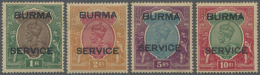 """1937 KGV. 1r- To 10r. Optd. """"BURMA/SERVICE"""", Wmk Mult Star (inverted In 2r.), Mint Lightly Hinged, Toned. (SG About... - Burma (...-1947)"""
