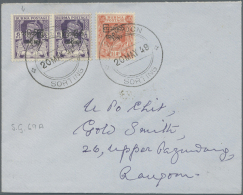 1947 Interim Government: Two Good Overprint Varieties On Two Rangoon Local Covers, With Ovpt. In Type 18a (first... - Burma (...-1947)