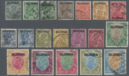 1937 KGV. Complete Set Of 18, Used. The 25r. With Two Slightly Shortened Perfs At Foot But Still A Good To Fine... - Burma (...-1947)