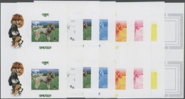 1972, PEDRIGEE DOGS, Poodle - 8 Items; Prgogressive Plate Proofs Of The Souvenir Sheet In Vertical Pairs, 16... - Bhutan