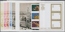 1972, OLYMPIC GAMES MUNICH `72, Javelin Throwing, Archery, Basketball - 8 Items; Progressive Plate Proofs Of The... - Bhutan