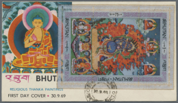 1969, Thangka-set And Perforated Souvenir Sheet On 6 First Day Covers, Very Rare Items! (D) - Bhutan