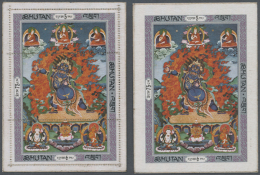 1969, Silk Thanka Issue Complete Set Of 5 Imperfd. Values & Both Miniature Sheets (perfd. And Imperfd.), Fine.... - Bhutan