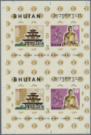 1965. Imperforate Proof Pair In Issued Colors For The Souvenir Sheet Of The EXPO Series. Mint, NH, VF. (Mi #Bl.3)... - Bhutan