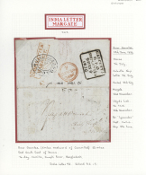1836 (24th June), Full Entire Letter With Inside Manuscript Map, Written At River Goomtee (5 Mile Westward From... - Bangladesh