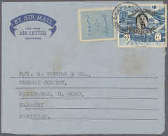 1974, 40 F. Slate-blue And Black, Single Franking With Label (revenue?) Alongside On Air Letter Sheet Commercially... - Bahrain (1965-...)