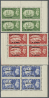 1950, Definitives KGVI, ½a. On ½d. To 10r. On 10s., Complete Set Of Nine Stamps As Blocks Of Four,... - Bahrain (1965-...)