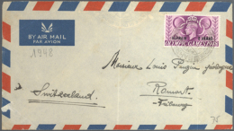 """1948, 6 A Olympic Games On Business Cover (faults) To Switzerland With Interesting Sender """"Divisional... - Bahrain (1965-...)"""