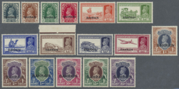 1938/1945, KGVI Overprints, 3p. To 25r. And 3p. To 12a., Complete Set Of 29 Values, Bright Colours, Well... - Bahrain (1965-...)