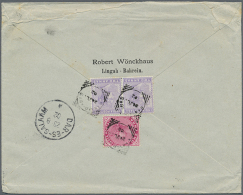 """1902 India Used Abroad: Queen Victoria 2 Annas (2) And 1 Anna Tied By """"BANDAR ABAS 24 JL 1902"""" Squared Circle On... - Bahrain (1965-...)"""