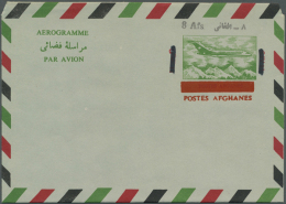 1972 AEROGRAMME 8 Afs. On 14 Afs., Ovpt. In Black, As 1) Issued, 2) With Ovpt. Inverted, 3) With Ovpt. Double, 4)... - Afghanistan