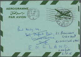 """1964 AEROGRAMME 6 Afs. Green (plane) And Red (frame): Two Examples Of This Letter Sheet Both With """"COLOUR RED... - Afghanistan"""