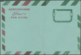 1964 AEROGRAMME 6 Afs. Red (plane) And Green (frame): Two Unused Copies Of This Scarce Aerogramme With Colours... - Afghanistan