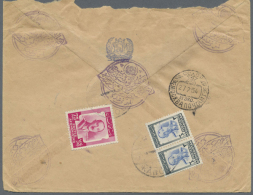 1954 Registered Airmail Cover From Kabul To Moscow Via Bombay, Franked On The Reverse With 1951 75p. And 3a. Pair... - Afghanistan