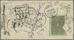 """1893, 1 Ab. On Bluish Green On Reverse Of Cover To India And Fwd.,  Marked """"POSTAGE DUE / 1 ANNA"""" Or Green Oval... - Afghanistan"""