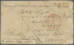 """1879 Stampless Cover To DETROIT USA (Apr 7 Backstamp), Ms. Return Of """"No. 1302 Lce. Corpl. A. Fleet 70th Regiment""""... - Afghanistan"""