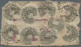 1873, 1sh Black (dated 1290) Nine Values On Envelope Including Two Pairs Showing Small Gutter, Usual Pen Stroke... - Afghanistan