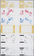 1971, GREAT OLYMPIC CHAMPIONS - 8 Items; Progressive Plate Proofs For The Set (excepting Airmail Stamp) In Crossed... - Manama