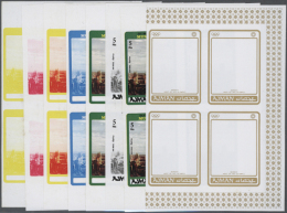 1971, OLYMPIC GAMES MUNICH '72 - 58 Items; Progressive Plate Proofs For The Set In Blocks Of Four, Cut Out Of The... - Ajman