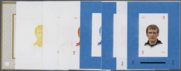 1971, SOCCER WORLD CUP GERMANY '74 - 64 Items; Progressive Plate Proofs For The Set In Single Stamp Blocks, Wide... - Ajman